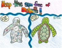 A child's drawing of a sea turtle versus a sea turtle filled with marine debris.