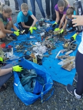 Students sorting marine debris.