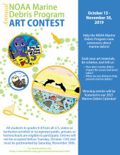 "A flyer that says ""NOAA Marine Debris Art Contest Now Open""."