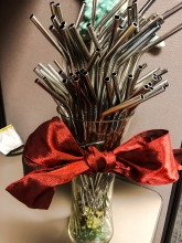 A bouquet of reusable straws.
