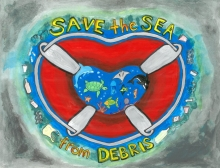 "Child's artwork of a heart-shaped life ring with the words ""Save the Sea from Debris."""