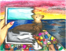 Child's artwork of a seal on a rock with marine debris while someone holds up a photo of a seal on a clean beach.