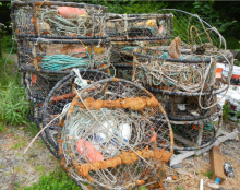 Derelict crab pots removed by the Quileute Indian Tribes. (Photo Credit: NOAA)