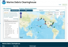 The homescreen of the Clearinghouse shows a map of the world on the right half of the screen. Dots represent the location of marine debris projects with a bulk of the dots marking the east and west coast of the United States. On the left side of the screen, users are able to filter the data to help narrow project searches.