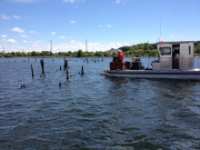 The NOAA Marine Debris Program is teaming up with Clean Bays to remove industrial debris from 18 miles of shoreline and nearshore environments in East Providence, Rhode Island. (Photo Credit: Keith Cialino, NOAA MDP)