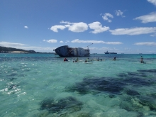The sunken vessel, Lady Carolina, off the coast of Saipan.