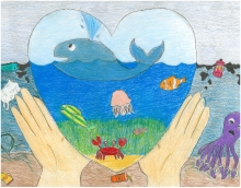 Child's artwork of hands holding a heart with a healthy ocean inside.