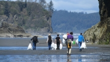 A group of people hauling marine debris off a beach.