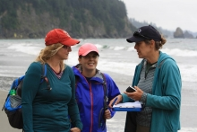 NOAA MDP Chief Scientist Amy Uhrin, NOAA MDP California Regional Coordinator Sherry Lippiatt, and CSIRO's Denise Hardesty discuss monitoring on Third Beach, WA.