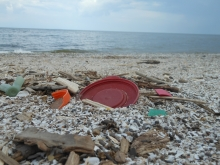 A plastic bottle cap and other consumer debris on a beach.