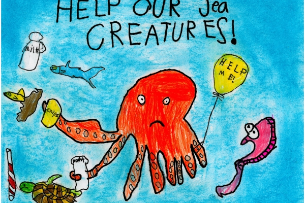 Artwork by Clayton K. (Grade 1, California), winner of the Annual NOAA Marine Debris Program Art Contest