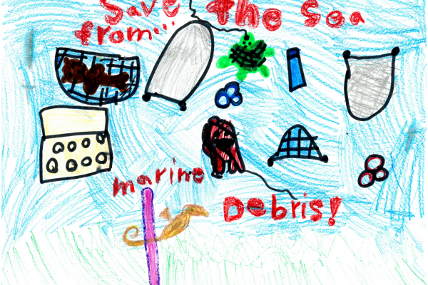 "Student artwork of debris floating in the water column with the words ""save the sea from marine debris."""