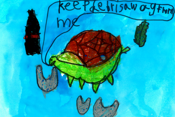 "Student artwork of a turtle, surrounded by debris, saying ""keep debris away from me."""