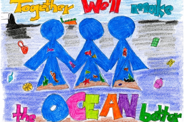Artwork by Xhian R. (Grade 2, U.S. Virgin Islands), winner of the Annual NOAA Marine Debris Program Art Contest