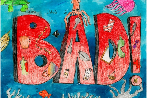 Artwork by Selina S. (Grade 3, Commonwealth of the Northern Mariana Islands), winner of the Annual NOAA Marine Debris Program Art Contest