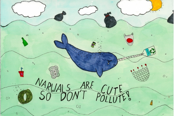 Artwork by Sabina W. (Grade 3, Washington), winner of the Annual NOAA Marine Debris Program Art Contest