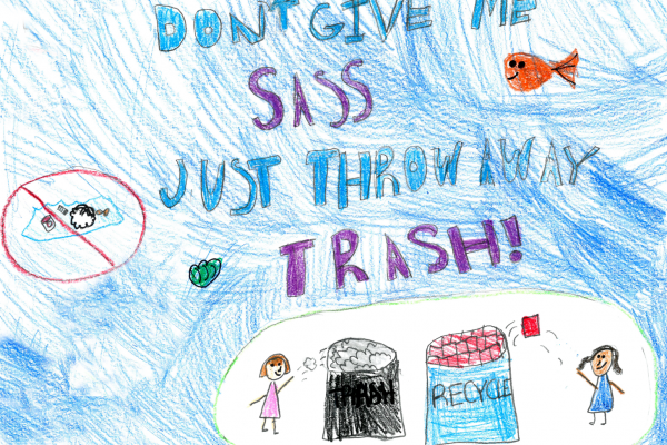 "Student artwork of kids throwing away trash with the words ""don't give me sass, just throw away trash!"""