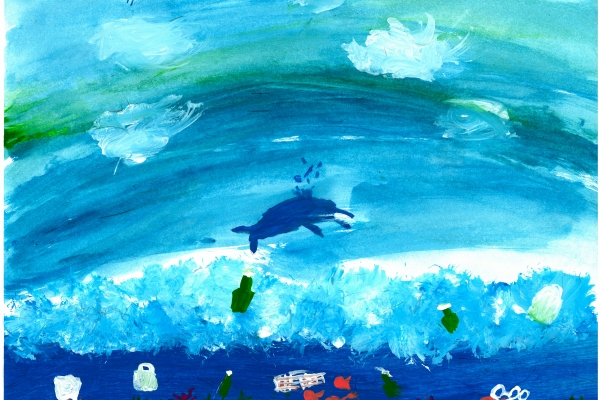 Artwork by Nora T. (Grade 4, Minnesota), winner of the Annual NOAA Marine Debris Program Art Contest