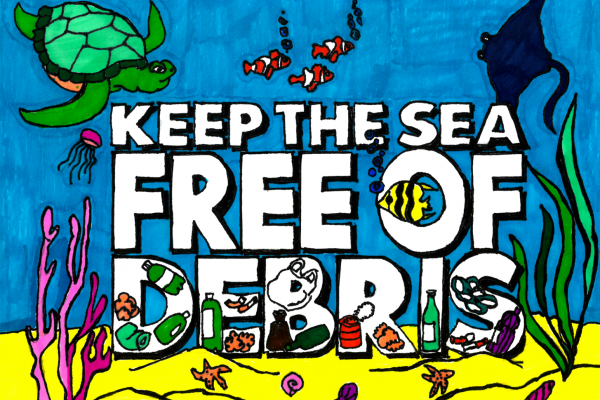 "Student artwork of marine animals with the words ""keep the sea free of debris"" and debris items within the word ""debris."""