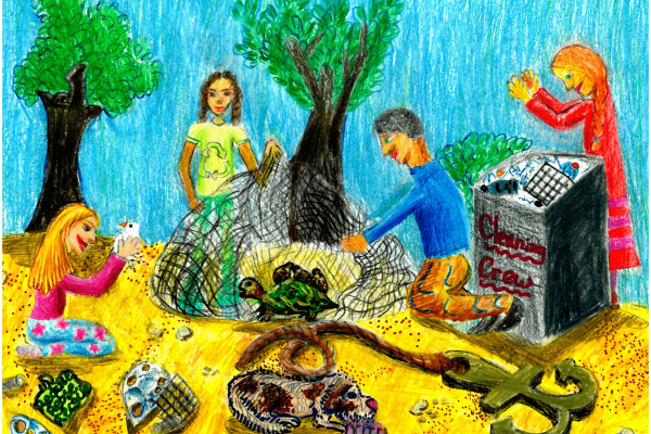 Calendar artwork submission of a picnic with trash.