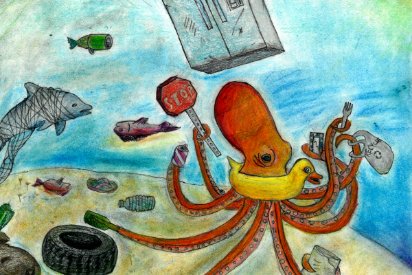 Student artwork of an octopus covered in debris items.