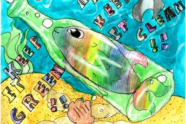 Artwork by Francisco V. (Grade 5, Texas), winner of the Annual NOAA Marine Debris Program Art Contest
