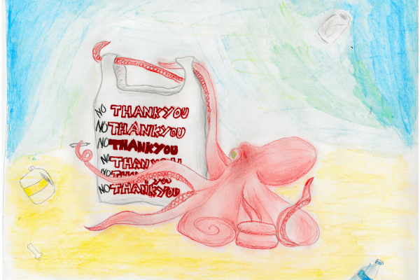 Calendar artwork submission of an octopus with a plastic bag.