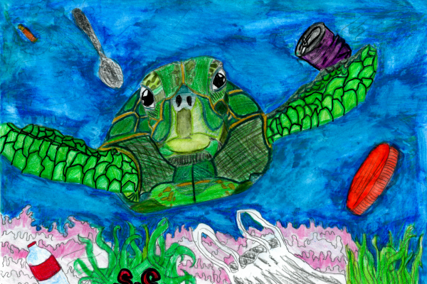 Student artwork of a sea turtle surrounded by debris in the water.