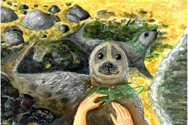Artwork by Bohdan A. (Grade 6, Massachusetts), winner of the Annual NOAA Marine Debris Program Art Contest