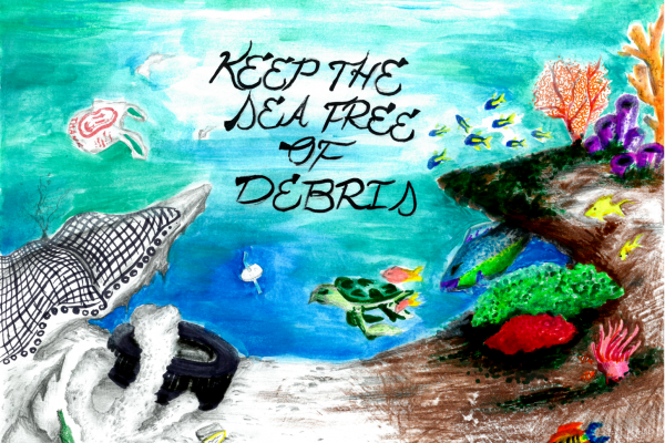 "Student artwork of a reef with lots of colorful life on one side and colorless debris on the other, with the words ""keep the sea free of debris."""