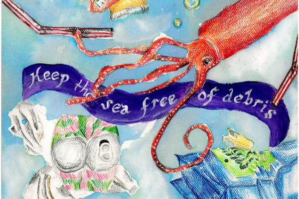 Artwork by Krishi P. (Grade 6, South Carolina), winner of the 2021 Annual NOAA Marine Debris Program Art Contest