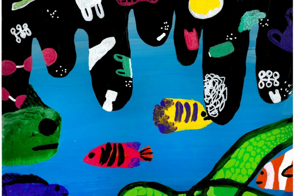 Artwork by Keya D. (Grade 7, Michigan), winner of the Annual NOAA Marine Debris Program Art Contest