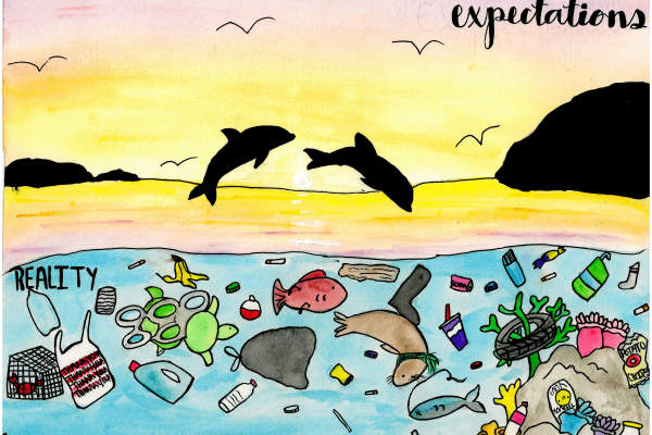 Calendar artwork submission of dolphins and marine debris.