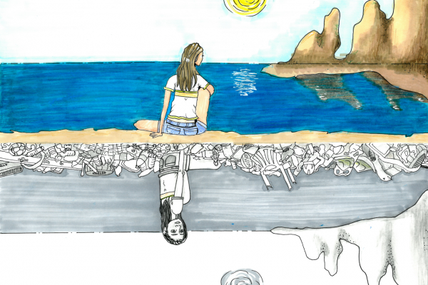 Student artwork of a clean, colorful landscape with a girl looking to the horizon and underneath, a colorless and very dirty landscape with the girl looking toward the viewer.