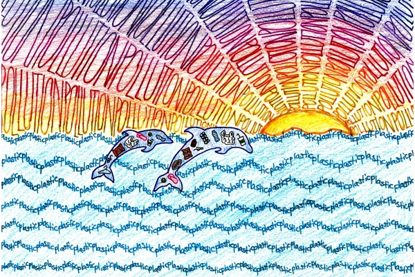 Artwork by Kate D. (Grade 8, Florida), winner of the Annual NOAA Marine Debris Program Art Contest