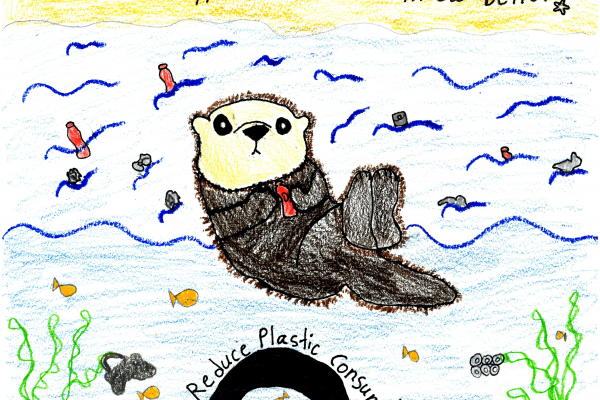 Calendar artwork submission of otter and marine debris.
