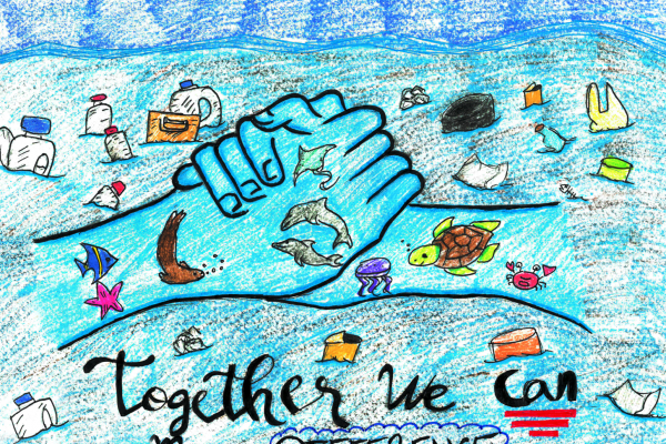 "Student artwork of debris-filled ocean, with holding hands full of healthy marine life and the words ""together we can make a difference."""